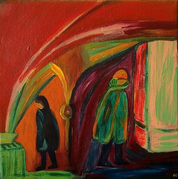Figures Modern Painting Acrylics Art on Canvas by Sylchra, available on her Etsyshop ArtPaintingsAndDecor