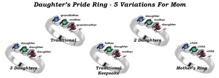 Daughter's Pride Ring Variations for a Mother. 3 Daughters, 2 Daughters, Traditional Daughter's Pride Ring, Traditional Daughter's Pride Ring Keepsake for Mother to keep and pass down to baby when she is old enough. www.daughterspride.com
