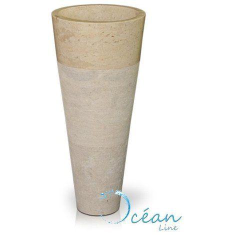 Colonne, Vasque sur pied en marbre crème – Solo