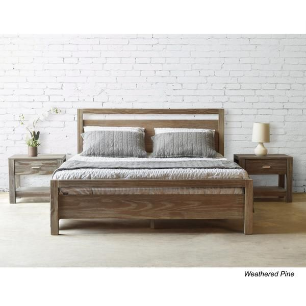 The Loft Platform Bed in Weathered Pine, but is also available in Grey and Acacia. Update your bedroom with a modern and 100% eco-friendly design! #GrainWood #Furniture