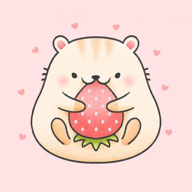 Cute Hamster Eat Strawberry Cartoon Hand Drawn Style Hamster Cartoon Cute Cartoon Drawings Animal Doodles