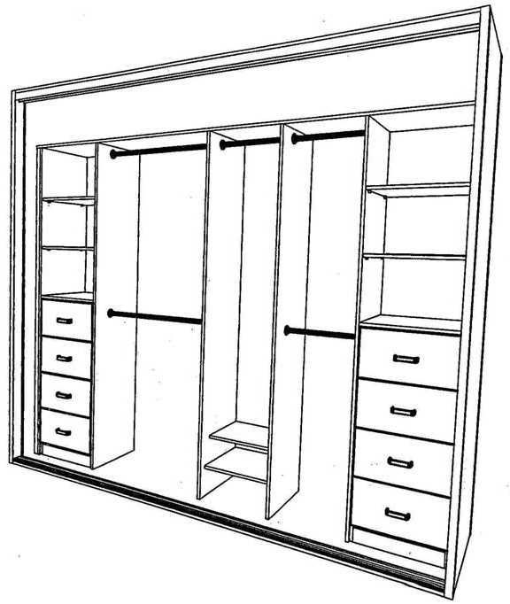 Built in wardrobe layout…this could work..change the front drawers to three so have one more shelf and do away with back drawers & shelves and lengthen the back top and bottom rods..sw Read More Source: –