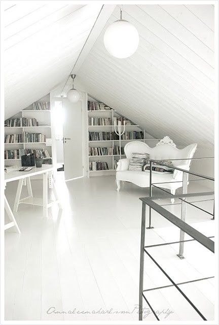 attic office space. I want this sofa and wall bookshelves.