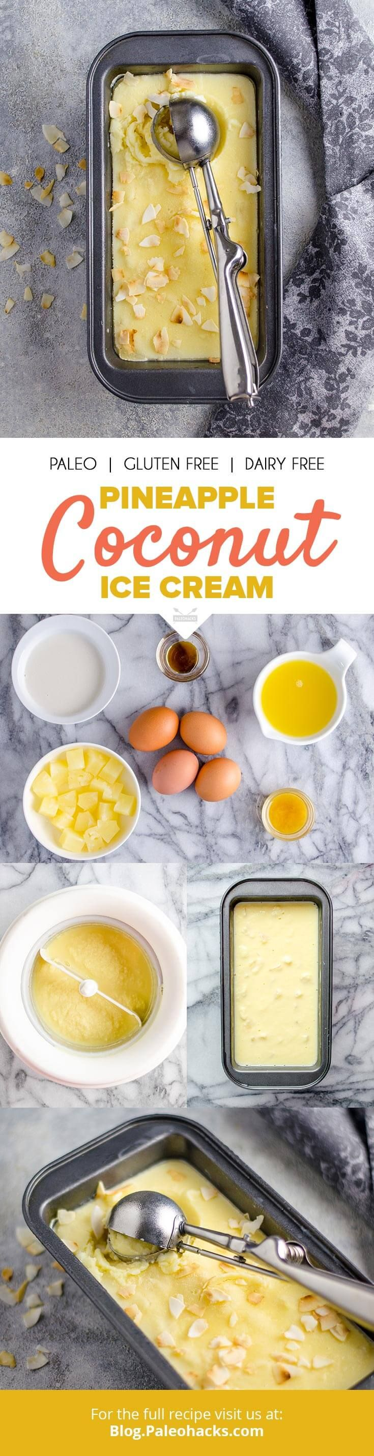 Smooth and refreshing, this tropical pineapple coconut ice cream is the perfect treat on a hot day. Get the recipe here: http://paleo.co/pinecoconuticecream