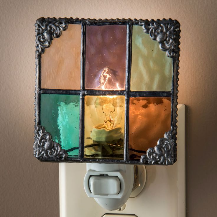 uncharteddivisions.com: J. Devlin NTL 165 Multi Color English Muffle Glass Decorative Night Light (NTL 165) $22.00  [as seen at Stylish Living in Apex, Sept. 2015)