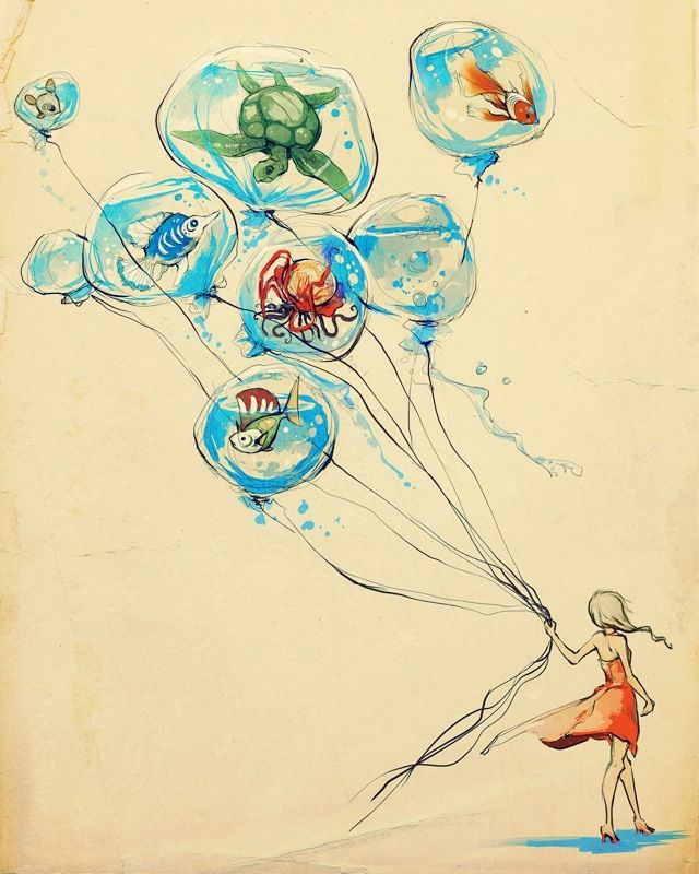 Beautiful illustration of a little girl holding balloons with sea creatures (: love this art