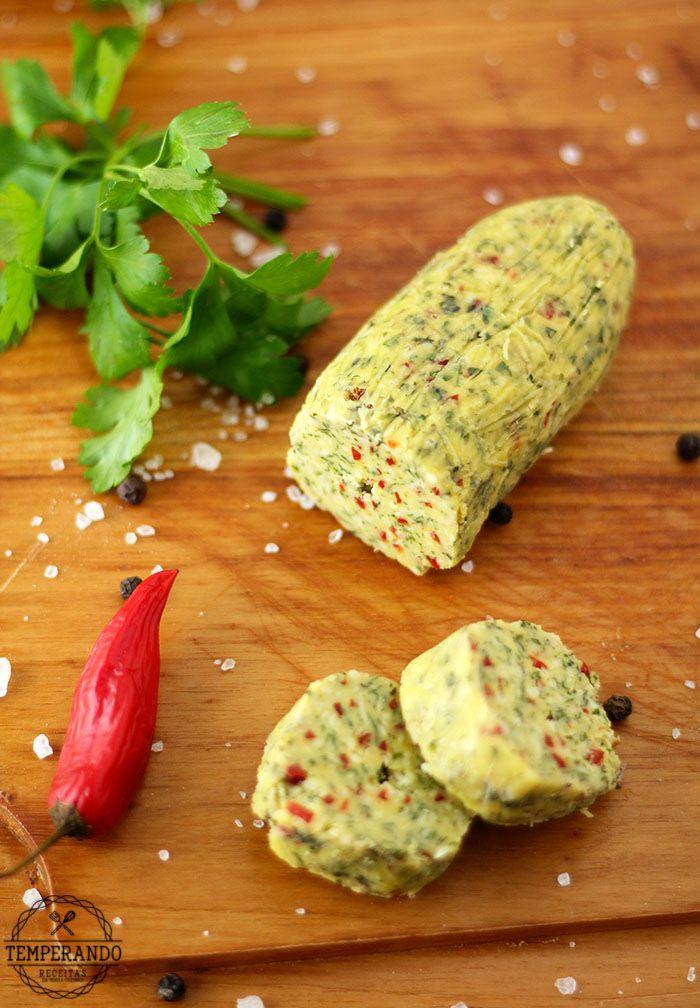 MANTEIGA TEMPERADA -- Como fazer manteiga temperada com ervas. Perfeito para…