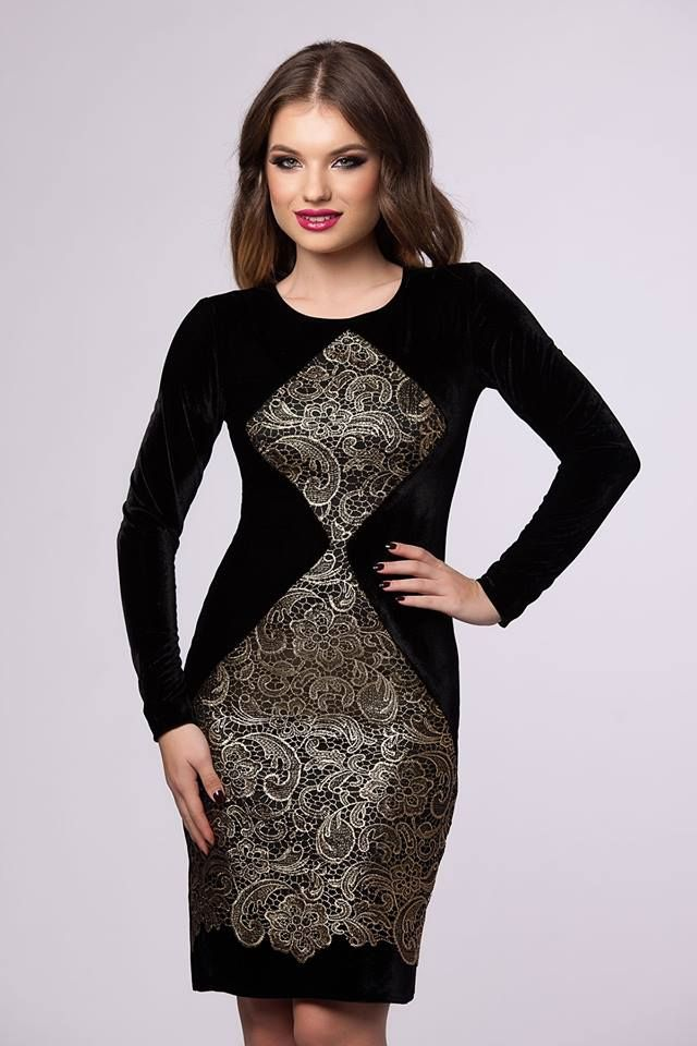 A wonderful midi fall dress with lace and velvet to add a spicy allure to your wardrobe!