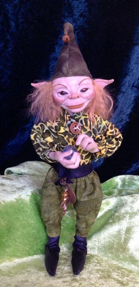 "SOLD  OOAK original sculpted art doll ""Podwinkle"" pixie/elf hand sculpted by Kaye Schlenert of Kotton Valley Dolls. www.facebook.com/Raggedydreaming?ref=hl"