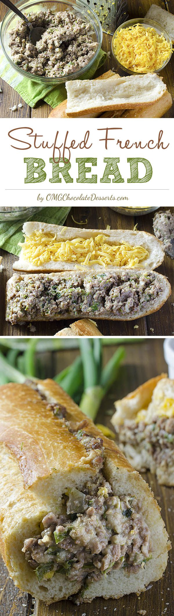In only half an hour, prepare a quick and tasty dinner for your family! Stuffed French Bread is a quick and a simple recipe for a crispy loaf of bread stuffed with cheesy minced beef