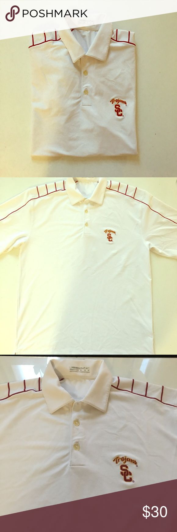 """Nike Golf """"Fit Dry"""" Men's USC Polo Shirt Medium Pristine condition, classic Trojan white and red polo shirt made specifically for the golf course. Nike """"Fit Dry"""" technology will keep you cool in the hottest conditions. USC insignia embroidered on the chest. Size medium. Nike Golf Shirts Polos"""
