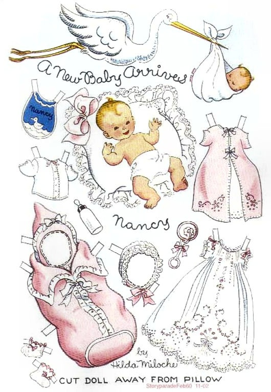 A NEW BABY ARRIVES Story Parade February 1950 Hilda Miloche paper dolls * For lots of free Christmas paper dolls International Paper Doll Society #ArielleGabriel artist #ArtrA thanks to Pinterest paper doll & holiday collectors for sharing *