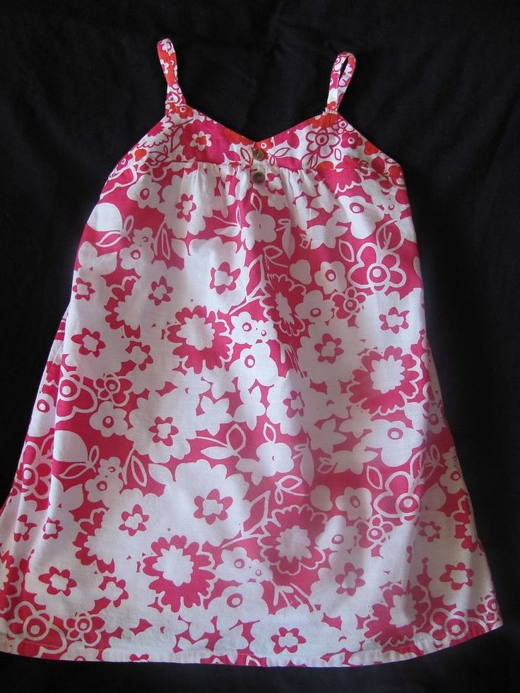 Hang Ten Bright Pink White Tropical Floral Dress Size X-Small XS 3/4 #HangTen #Everyday