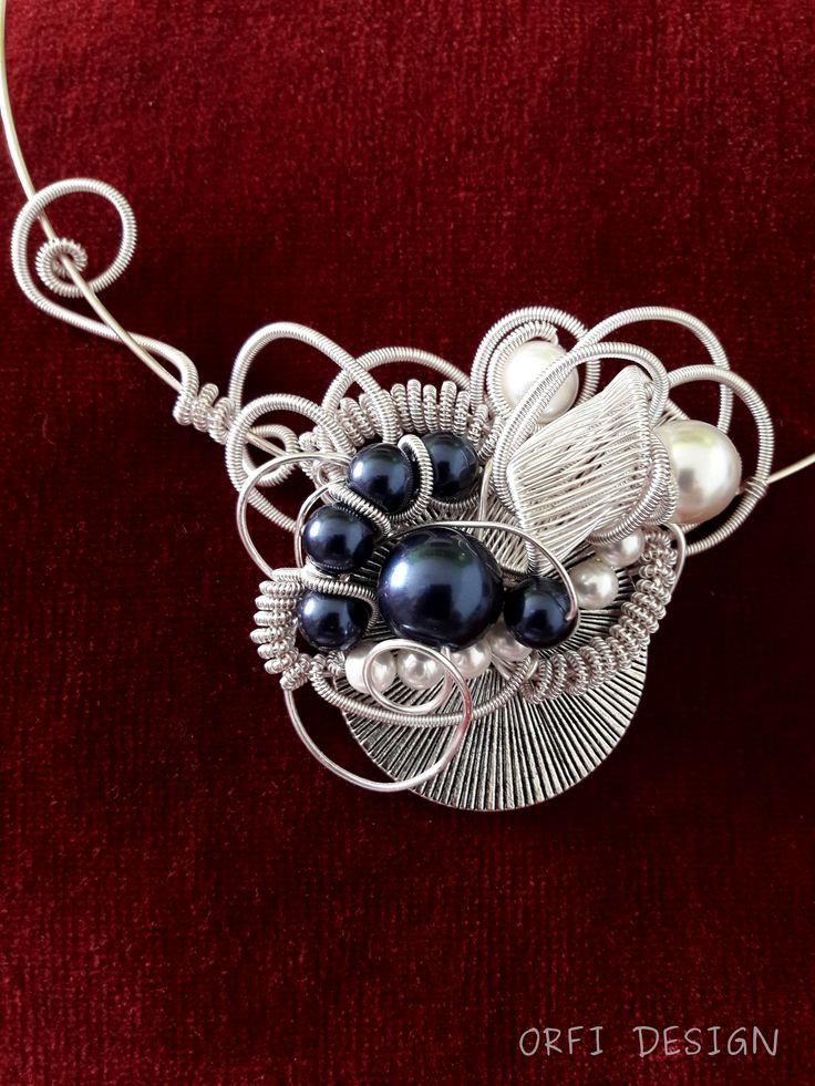 Wire wrapped necklace with swarovski pearls...handmade jewelry...