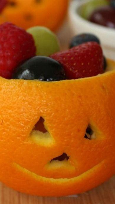 Jack-O-Lantern Orange Fruit Cups