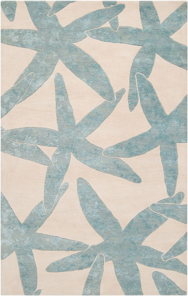 Good Escape Starfish Area Rug   Foggy Blue On Ivory: Beach Decor, Coastal Home  Decor