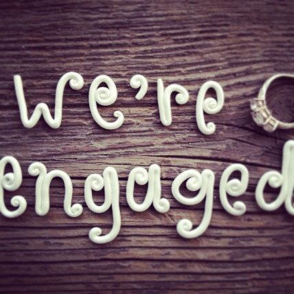 """Engagement Photography Prop """"We're Engaged"""" white Polymer Clay Words Creative Engagement Photography Idea on Etsy, $17.95"""