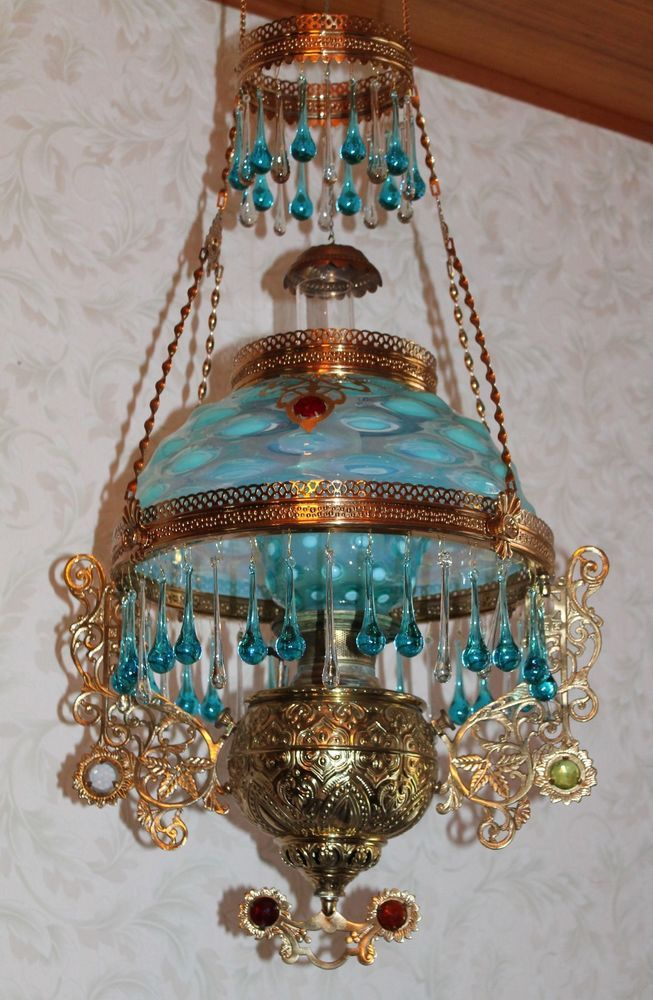 Rare Victorian Bradley Hubbard Jeweled Hanging Library Kerosene Oil Lamp Victorian Lamps Antique Oil Lamps Hanging Lamp