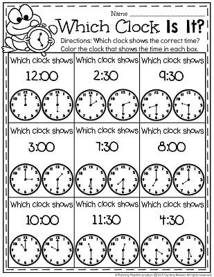 Telling Time Worksheets - Color the correct clock.