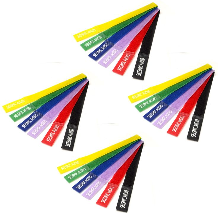 Four Pack of Seismic Audio Colored Velcro Cable Ties - 8 Inches - (4 Packs of 6)