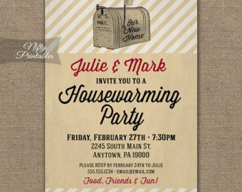 Housewarming Invitations - Printable Vintage House Warming Party Invites - DIY Retro Mailbox Housewarming Invitation