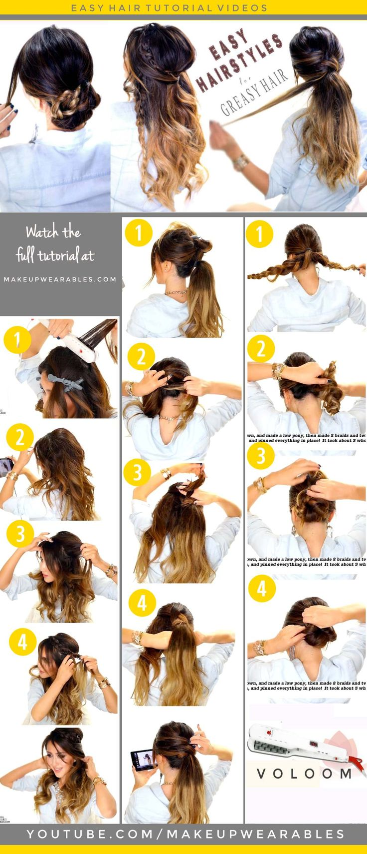 4 Easy #Hairstyles for Greasy #Hair | Half-Up Braid, Bun, Ponytail
