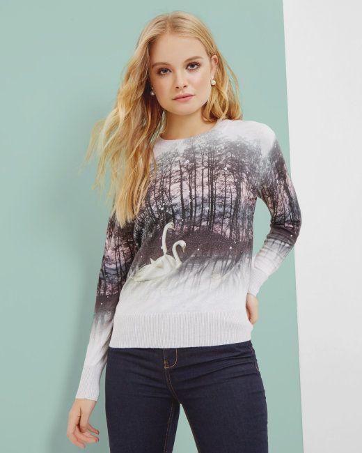 Sparkling Swan jumper - Straw | Knitwear | Ted Baker NEU