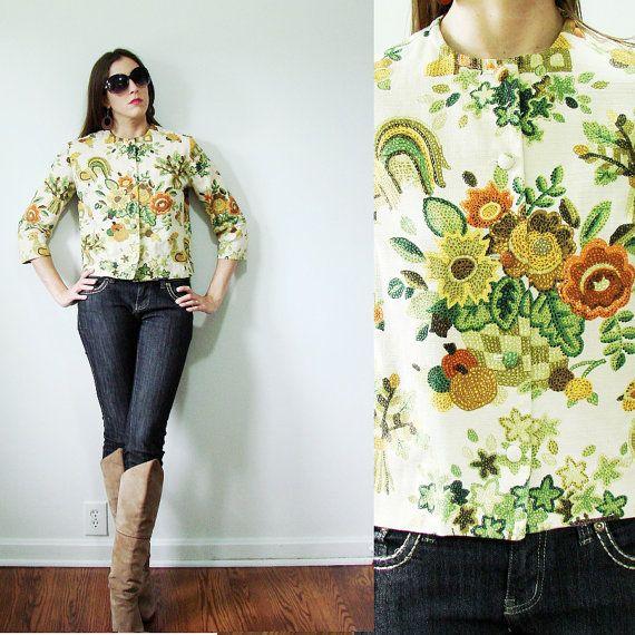 Vintage 1960s Adelaars Aristocrat Tapestry Rooster & Sunflower Crop Jacket Autumn Small by MyGrayCatVintage, $52.00