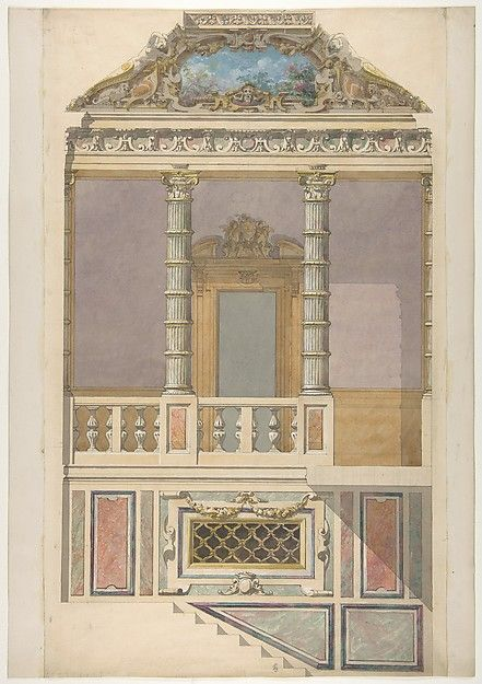Jules-Edmond-Charles Lachaise | Elevation of an Italianate interior, including steps and an upper loggia decorated in composite columns | The Met