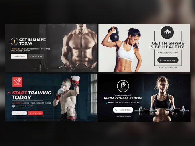 Do custom banners ads and gif of your choice d ad gym banner