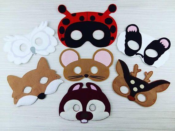 Woodland Animal Mask - Animal Felt Mask - Ladybug Owl Fox Deer Badger Squirrel Mouse Felt Masks - Halloween - Woodland Party - Party Favor