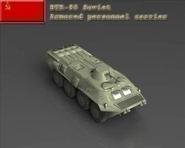 BTR 80 Soviet armored personnel carrier 3D Model-   The Soviets based the BTR-80 on the BTR-70 APC. It has a single 260-hp, V-8 turbocharged, water-cooled, diesel engine, an improvement over the twin gasoline engines installed in the BTR-60 and BTR-70 vehicles. The reconfigured rear portion of the hull accommodates a new, single engine. The Soviets removed the roof chamfers of the modified BTR-70, raised the rear, and squared off the rearward-sloping engine compartment. Standard equipment…
