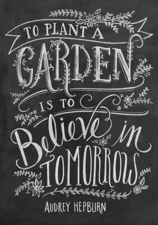 To plant a garden is to believe in tomorrow. Audrey Hepburn
