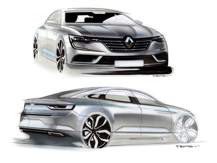 Check the design sketches and images of the new Renault Talisman four-door sedan