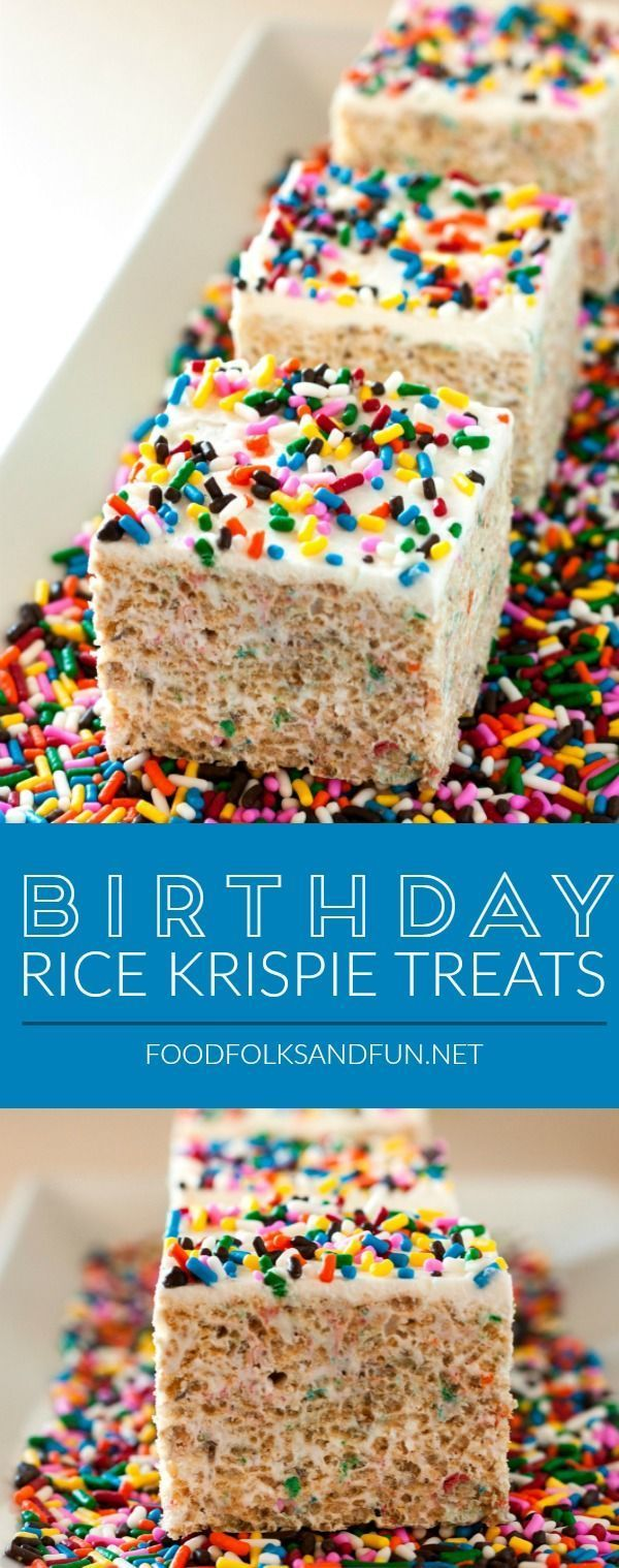 These ultimate Birthday Rice Krispies Treats are huge, gooey, and the perfect no-bake treat for birthdays! Try these instead of cupcakes for your kid's next school birthday treat! | Birthday Recipe | Birthday Treat | Birthday Dessert | Rice Krispie Treats Recipe
