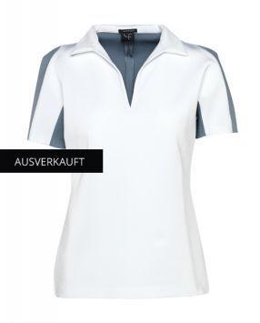 """Shop Online now clothes of Dany Fay Golf Couture.  T-Shirt aus hochelastischem Neopren mit aufwendig geschneiderter Schulterpartie in """"Colour-Block"""". https://www.danyfay.com/de/detailseite/chip-mit-kragen.html  #danyfay #golfdesigner #golfcouture #golfetiquette #golfer #golffashion #modegolf #TShirt #hochelastischem #Neopren #aufwendig #geschneiderter #Schulterpartie"""