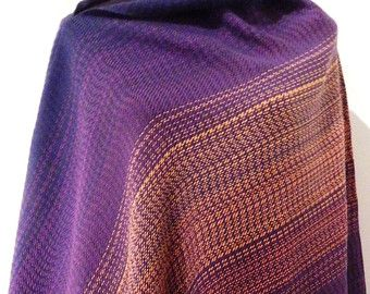 Handwoven Purple Sunset- poncho / shawl