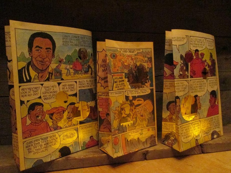 10 Custom Made Comicbook Luminaries for book themed weddings and parties, comic book collector gift.