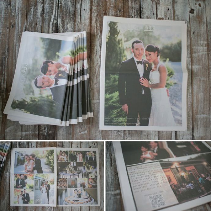 A newspaper thank-you card idea so guests can relive the big day. so cute!