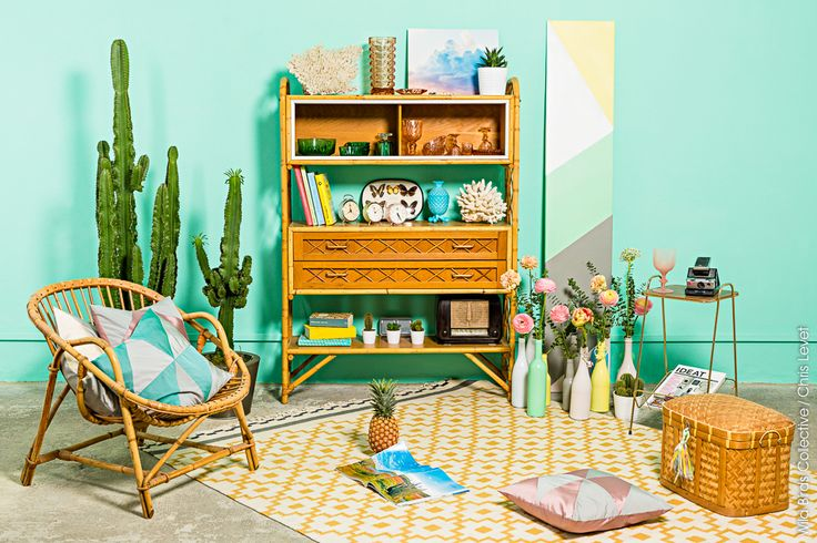 Photography © http://www.christophelevet.com-Interiors Design & Styling: http://www.wildbirdscollective.com #vintage #vintagedesign #interiors #home #pastel #colors #cactus #polaroid