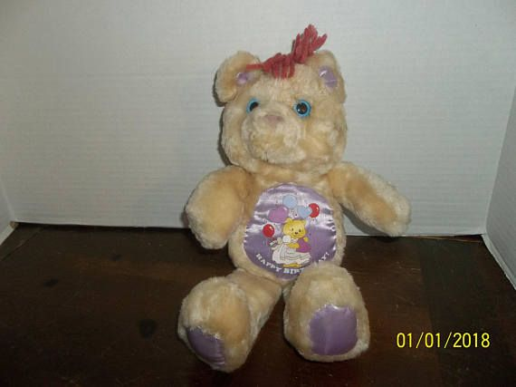 vintage agc meritus ind happy birthday teddy bear plush with satin stomach