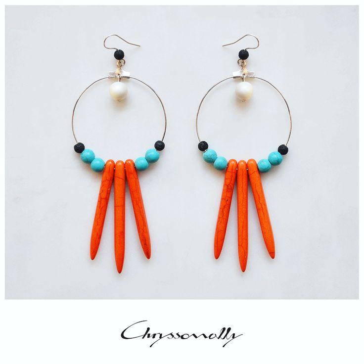 JEWELRY | Chryssomally || Art & Fashion Designer - Tribal inspired earrings in hot summer hues, orange, turquoise, black and white gemstones.