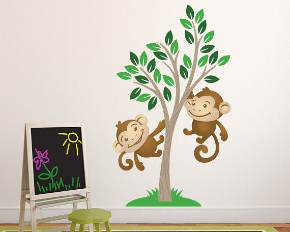 Nursery Wall Decal  Monkey Tree Kids Wall by LullaberryDecals