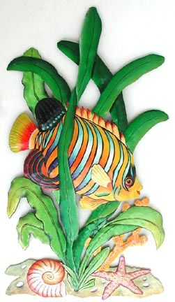 Painted Metal Regal Angelfish Tropical Fish Art - Handcrafted Tropical Decor - See more at www.Tropical-Fish-Decor.com