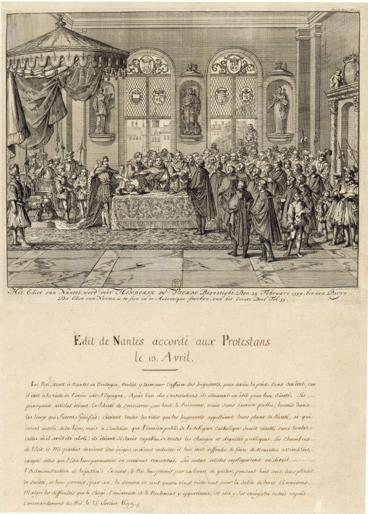 Proclamation of the Edict of Nantes The goal of the negotiations surrounding the Edict of Nantes was to create a delicate balance between the most liberal clauses of the Edict of Beaulieu (1576) and the most restrictive ones of the Edict of Boulogne (1573), while factoring in the specific context of the late 1590s. The signatories also wanted to spell out as much as possible all the decisions, so as to leave no room for interpretation, which generally led to non-enforcement of the agreement.