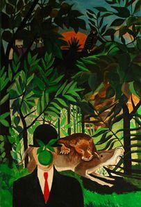 Guy Bodson, Douanier Rousseau et Magritte, acrylique sur toile, 2000 /  ©Musée du Vivant - AgroParisTech