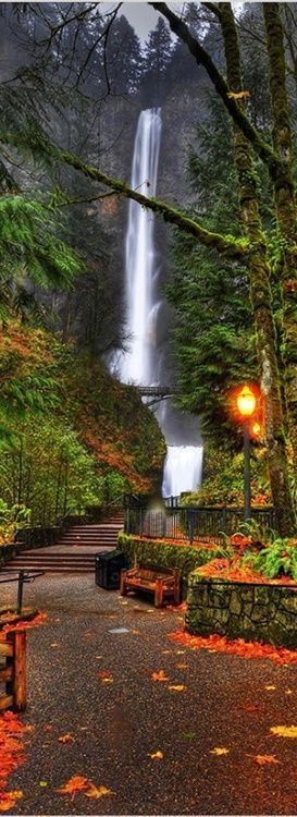 Multnomal Falls, Oregon, USA - This magnificent waterfall is located just a couple miles away from Portland. Multnomah Falls is exactly 611 feet high. It is best described as a wild, powerful & breathtaking cascade of icy water. The view is remarkable. For an even closer view, walk several hundred feet up the paved trail to reach Benson Bridge, which spans the falls at the first tier's misty base, providing a stunning view.
