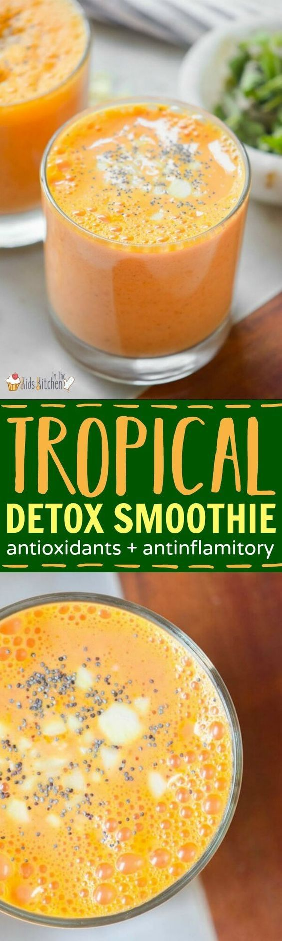 This vibrant tropical detox smoothie is the perfect energy boost for busy moms or a tasty way to sneak a little extra nutrition in your kids' day.