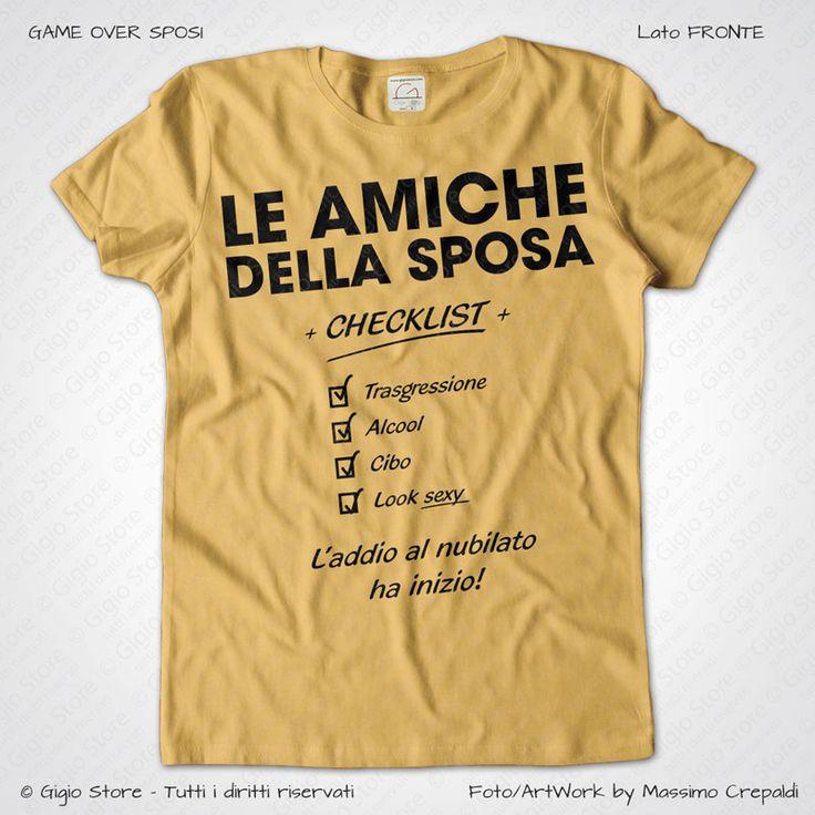 Magliette Addio al Nubilato Amiche della Sposa T-Shirt colore Giallo Vintage Stampa Personalizzata Nero Taglia XS, S, M, L, XL