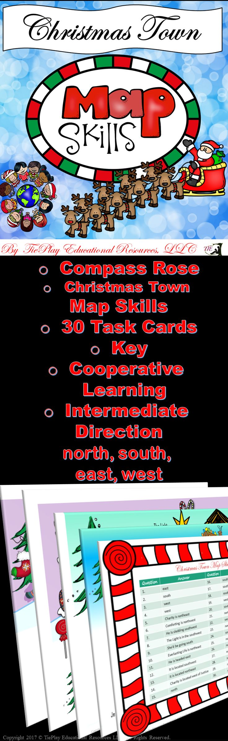 Price $4.75 Perfect learning fun for the holidays! Christmas Town Map Skills is a kid friendly way to learn or review directions of north, south, east, west, intermediate skills and Christian values. This map skills game contains: game board of lovely Christmas Town scenes, compass rose/scale, directions for use, 30 task cards, 2 awards cards and key